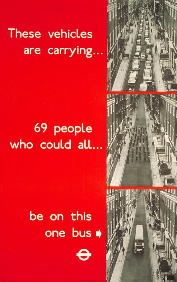 69 people cars one bus tfl poster