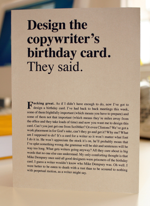 Design The Copywriters Birthday Card They Said Noisy Decent